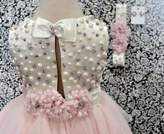 Niñas formales vestido Blush marfil Gasa y raso perlas