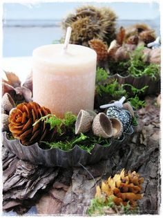 metal mold & natural goodies with candle