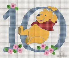 Winnie the pooh 10 cross stitch chart Cross Stitch Numbers, Cross Stitch Letters, Cross Stitch For Kids, Cross Stitch Boards, Cross Stitch Needles, Beaded Cross Stitch, Cross Stitch Baby, Cross Stitch Embroidery, Disney Stitch