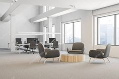 Side View Office Waiting Area White Walls Carpet Floor Coffee,  #Area #Carpet #Coffee #Floor #greycarpet #greycarpetikea #greyCarpetlivingroom #greyCarpetrunner #greyCarpetseamless #greyCarpettexture #greycarpettextureseamless #greycarpettiles #greyCarpetwhitewalls #greycarpets #office #Side #view #waiting #Walls #White Wall Carpet, Carpet Flooring, Round Coffee Table, Coffee Area, Grey Carpet Living Room, Open Space Office, Grey Armchair, Textured Carpet, Waiting Area