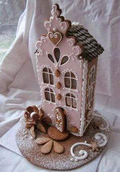 It's time for some Christams Baking - here are some creative Gingerbread House ideas. Be inspired by everything from gingerbread cookies to villages. Gingerbread Village, Christmas Gingerbread House, Noel Christmas, Pink Christmas, Christmas Goodies, Gingerbread Man, Christmas Treats, Gingerbread Cookies, Xmas