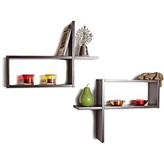 @Overstock - This set of two intersecting wall mount reversed d-shape wooden shelves are the ideal accent for any bedroom or bathroom. The dark brown finish will match any home decor.http://www.overstock.com/Home-Garden/Reversed-Rectangular-Wall-Shelf-Set-of-2/6318763/product.html?CID=214117 $29.99