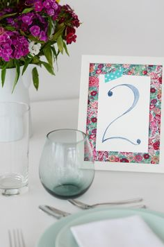 easy and thrifty watercolour table numbers