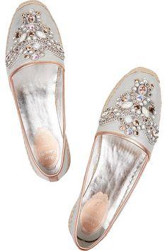 Rene Caovilla Crystal-embellished Silver metallic leather slip on espadrilles (=)