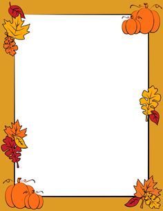 An autumn page border with fall leaves and pumpkins. Free downloads at http://pageborders.org/download/autumn-border/