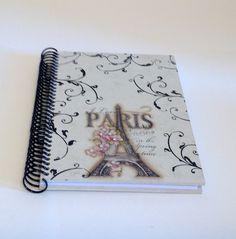 Caderno decorado em mdf - Paris | Atelier Marcia Campos | Elo7