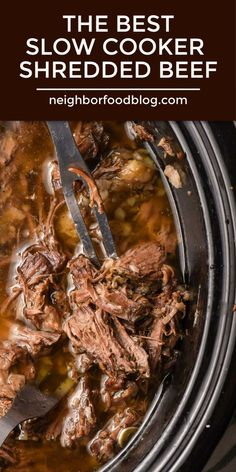 This is the absolute BEST Crock Pot Shredded Beef and it couldn t be easier to make This tender juicy beef is perfect in all kinds of recipes Serve it over noodles or mashed potatoes or add it to tacos enchiladas sliders and Crock Pot Recipes, Best Beef Recipes, Beef Recipes For Dinner, Healthy Crockpot Recipes, Italian Beef Recipes, Slow Cook Beef Recipes, Stewing Beef Recipes, Beef Dinner Ideas, Pressure Cooker Recipes Beef