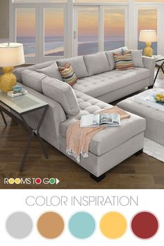 Get some living room color palette inspiration from our Calvin Heights sectional set. The bold platinum of the sectional lends fantastic eye appeal while the free-flowing wave pattern on the pillows and chair are bold and add character. This living room s Living Room Styles, New Living Room, Living Room Furniture, Living Room Designs, Living Room Decor, Sofa Design, Interior Design, Fashion Room, Room Colors