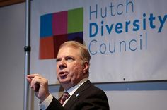 Seattle Mayor Ed Murray addresses a packed house in the Pelton Auditorium on the Fred Hutch campus on Oct. 7, 2015. He spoke to the Hutch #Diversity Council forum about politics, leadership and LGBT issues. Photo by Robert Hood / #FredHutch News Service