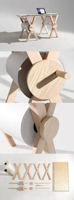 Escritorio 'Analog Memory Desk' (Cool Furniture For Kids) Into The Woods, Deco Design, Wood Design, Design Table, Kids Furniture, Furniture Design, Furniture Stencil, Furniture Layout, Repurposed Furniture