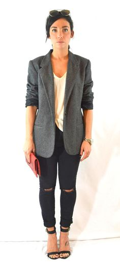 Charcoal Gray Boyfriend Blazer Gray Blazer. Wool by ModishDamsel
