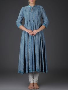 Indigo Block-Printed Kalidar Cotton Kurta with Cotton Churidar (Set of Kurti Neck Designs, Blouse Designs, Pakistani Outfits, Indian Outfits, Casual Dresses, Fashion Dresses, Frock Design, Indigo, Indian Designer Wear