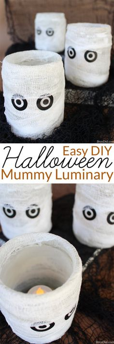 Easy Homemade Halloween Decoration -Learn how I make this easy Mummy Luminary that looks like a Pottery Barn candle holder but cost much less!