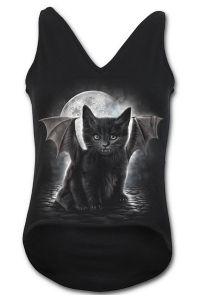 Spiral - Gothic Top mit V-Ausschnitt - Black Cat