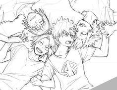 Boku no Hero Academia || Hanta Sero, Kaminari Denki, Katsuki Bakugou, Kirishima Eijirou.
