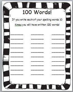 Classroom Freebies Too: 100s Day Spelling Freebie