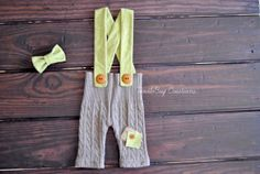 Newborn Photography Pants  Upcycled Brown Cable Knit Pants with Green Suspenders and Bow Tie by ToodleBugCreations, $26.50