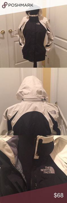 Girls North face hyvent rain/snow jacket CAN FIT A WOMAN SIZE XS-S‼️Removable hood and inside zipper pockets w/Velcro & elastic sleeves for a perfect fit!zipper front and Velcro fasteners (Velcro is so strong some threads are imbedded in them) EUC NO STAINS OR SIGNS OF WEAR (only Velcro has threads caught in them as pictured) North Face Jackets & Coats