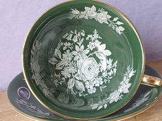 Vintage Aynsley forest green tea cup and saucer by ShoponSherman, $45.00
