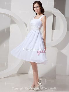 White Chiffon Knee Length Plus Size With Straps Graduation Dress - US$105.99 - Style G0082 - Graduation Girl. Comes in several colors