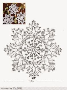 I love snowflakes. I love to crochet them and to decorate with them. We use them as Christmas tree ornaments and on hanging wreath. Every year I'm asked to share crochet snowflakes diagrams& Crochet Snowflake Pattern, Crochet Stars, Crochet Motifs, Crochet Snowflakes, Crochet Diagram, Doily Patterns, Thread Crochet, Crochet Crafts, Crochet Doilies