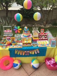 Pool Themed Birthday Cakes Swimming Pool Party Ideas Swimming Summer Birthday Party Swimming Pool Su FBDB F Pool Party Kids, Summer Pool Party, Summer Birthday, Summer Parties, 2nd Birthday Parties, Beach Party Birthday, Summer Bday Party Ideas, Beach Party Ideas For Kids, Teen Pool Parties
