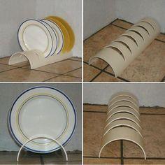 Wonderfull DIY PVC Projects – rustic home diy Diy Para A Casa, Diy Casa, Diy Crafts Home, Diy Home Decor, Diy Kitchen Storage, Kitchen Organization, Karton Design, Diy Plate Rack, Plate Holder