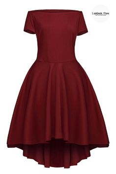 Achieve a perfect date night look with this lovely burgundy off-shoulder high-low skater dress.