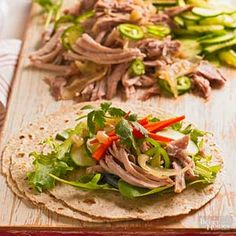 Vietnamese Pork Crisp, fresh veggies accompany slow-cooked pork in this Asian-style wrap that's bursting with flavor. Jalapeno peppers, lime juice, and garlic add zing, and pickled carrots lend a sweet-and-sour taste. Healthy Slow Cooker, Crock Pot Slow Cooker, Crock Pot Cooking, Slow Cooker Recipes, Crockpot Recipes, Cooking Recipes, Crockpot Meat, Cooking Pork, Pork Recipes