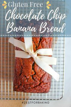 Thick slices of this decadent loaf of gluten free chocolate chip banana bread will have everyone grabbing for seconds. It's gluten free, grain free and can easily be made dairy free too! #zestforbaking #glutenfreebaking #coconutflour