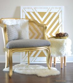 It's amazing what paint can do! Gold Cane Chair Makeover by Two Thirty~Five Designs