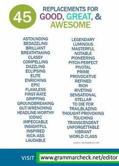 Other ways to say Awesome, Great Essay Writing Skills, Book Writing Tips, English Writing Skills, Writing Words, Learn English Words, English Phrases, English Grammar, English Language Learning, Spanish Language