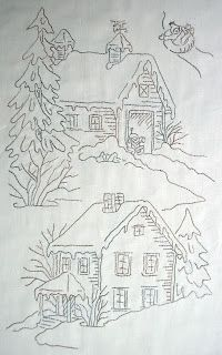 MoosecraftUSA: Snow Days Block 13 9 inches x 15 Silk Ribbon Embroidery, Hand Embroidery Patterns, Vintage Embroidery, Embroidery Applique, Cross Stitch Embroidery, Quilt Patterns, Machine Embroidery, House Quilts, Christmas Embroidery