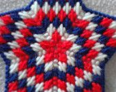 Items similar to Starburst Ornament-Red, White, Blue-Patriotic, Plastic Canvas Star on Etsy