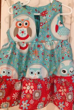 Adorable summer dress with a hoot by Iminstitches2 on Etsy, $28.99
