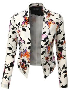 LE3NO Womens Lightweight Cropped Open Front Floral Blazer