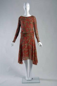 "Day dress, 1925. Printed silk crepe, metallic thread. Gabrielle ""Coco"" Chanel"