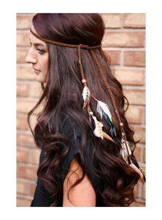 Feather headband: native american indian headdress, boho hippie tribal jewelry