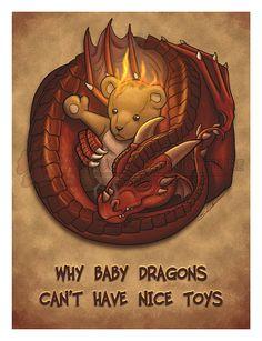 8.5x11 Baby Red Dragon with Teddy Bear Fantasy by RedNebulaStudios, $10.00