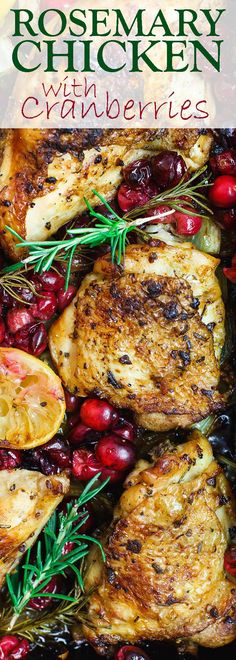 Garlic Rosemary Chicken with Cranberries | The Mediterranean Dish. All the comfort in this easy one-pan rosemary chicken. The chicken pieces are rubbed in lots of garlic and fresh rosemary, then marinated in citrus and olive oil along with onions and celery. And the cranberry topping takes it to another level! Step-by-step tutorial on TheMediterraneanDish.com Frugal holiday dinner!