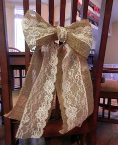Burlap Bow with Ivory Lace Curtain Tie Back Wedding Decoration Wreath Decoration via Etsy