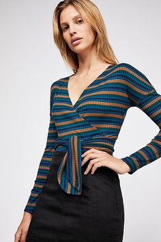 Slide View 1: Always With Me Tee Free People Store, Ribbed Top, Stripes Design, Cold Shoulder Dress, Tees, Shopping, Dresses, Style, Neckline