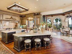 Stunning #kitchen with a view at Rancho Santa Fe, California