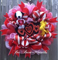 Peanuts Valentine Wreath Snoopy Valentines Wreath by BaBamWreaths