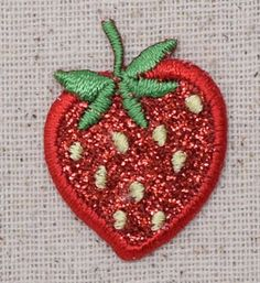 Iron On Embroidered Applique Patch Small Glitter Sparkle Red Strawberry