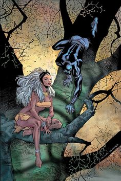Ororo Munroe aka Storm and King T'Challa of Wakanda as the Black Panther (cover to Black Panther Vol. 3 #16)