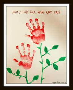 Hand print Roses craft, like it for Grandmother gift