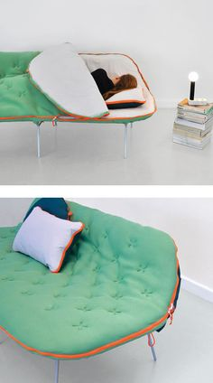 Are you at a loss when family and friends come to visit? Do you wish there was an alternative solution to having to purchase a hideabed? Designer Stephanie Hornig has come up with an innovative solution – the camp daybed. - Home Decor Idea Cool Furniture, Furniture Design, Modular Furniture, Furniture Logo, Furniture Showroom, Retro Furniture, French Furniture, Refurbished Furniture, Ikea Furniture