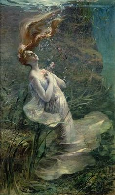 Ophelia Drowning, Paul Albert Steck 1895   The queens lie to get Ophelia buried, because she feels bad about the mousetrap.   (Such a detailed description of a death no one saw...)