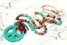 Charm- & Bettelketten - Tolle Kette ☮ Peace XL ✿ Jaspis, Howlith ✿ Hippie - ein Designerstück von Lunas-SchmuckART bei DaWanda